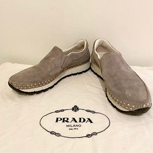 Prada Suede Studded Slip-On Sneakers